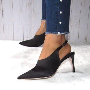 NEW H&M Black Satin Pointed Toe Slingbacks